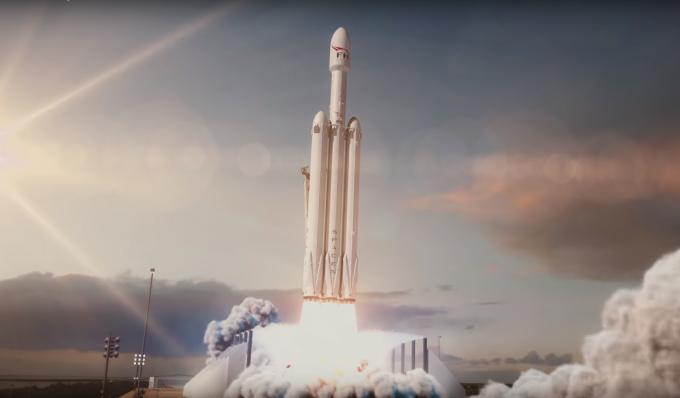 미국 테슬라의 최고경영자(CEO) 일론 머스크가 이끄는 민간우주기업 스페이스X의 대형 우주발사체인 '팰컨헤비'의 상상도. 6일 오후 1시30분(한국시간 7일 오전 3시30분) - 스페이스X 제공
